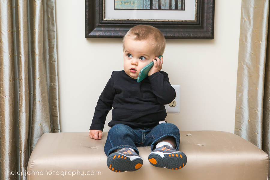 little boy on cell phone