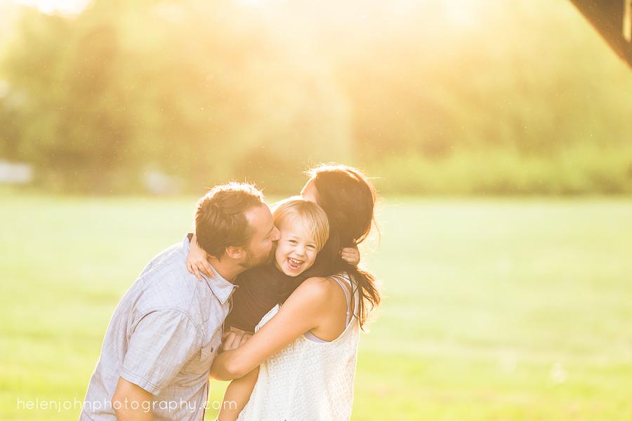 golden hour light family portrait