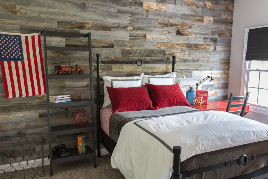 cool teen boy bedroom with wood wall