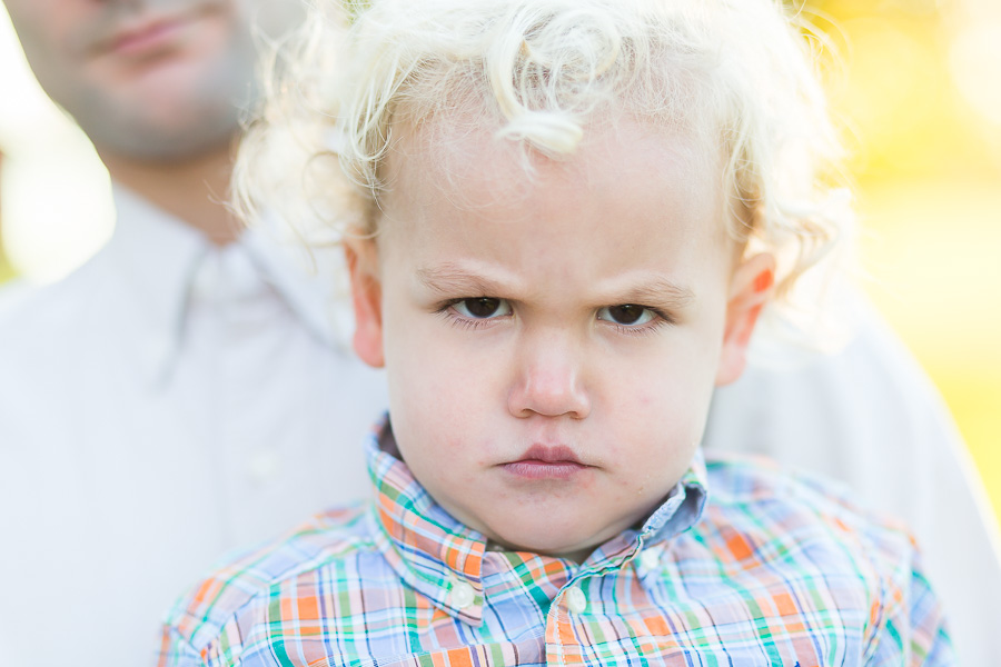 2 year old scowling
