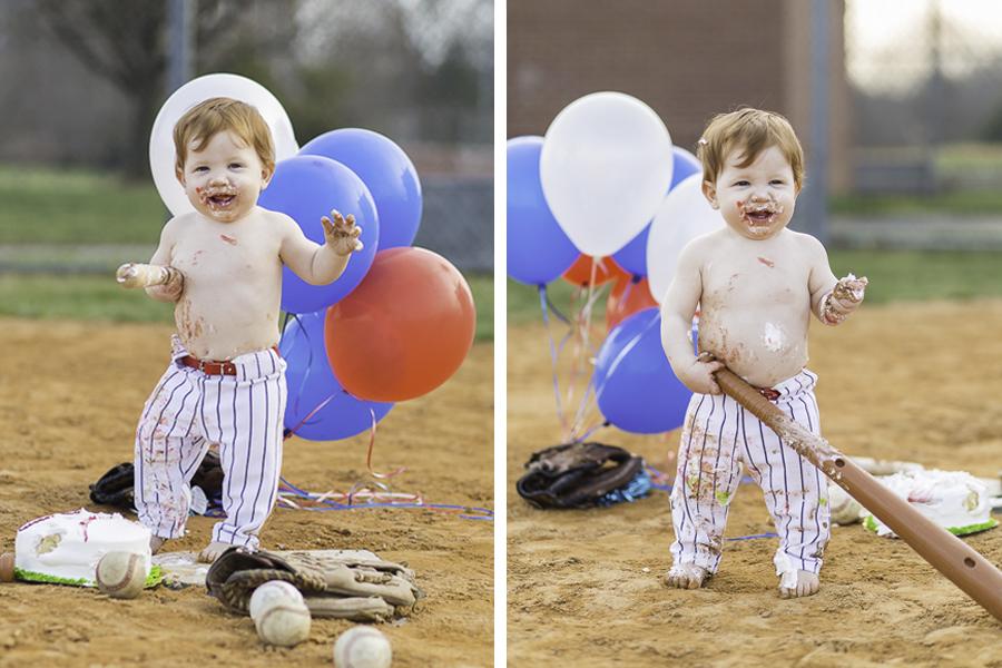 baseball themed 1st birthday cake smash