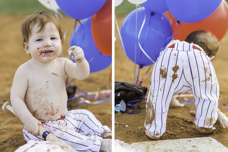 one year old cake smash session baseball themed