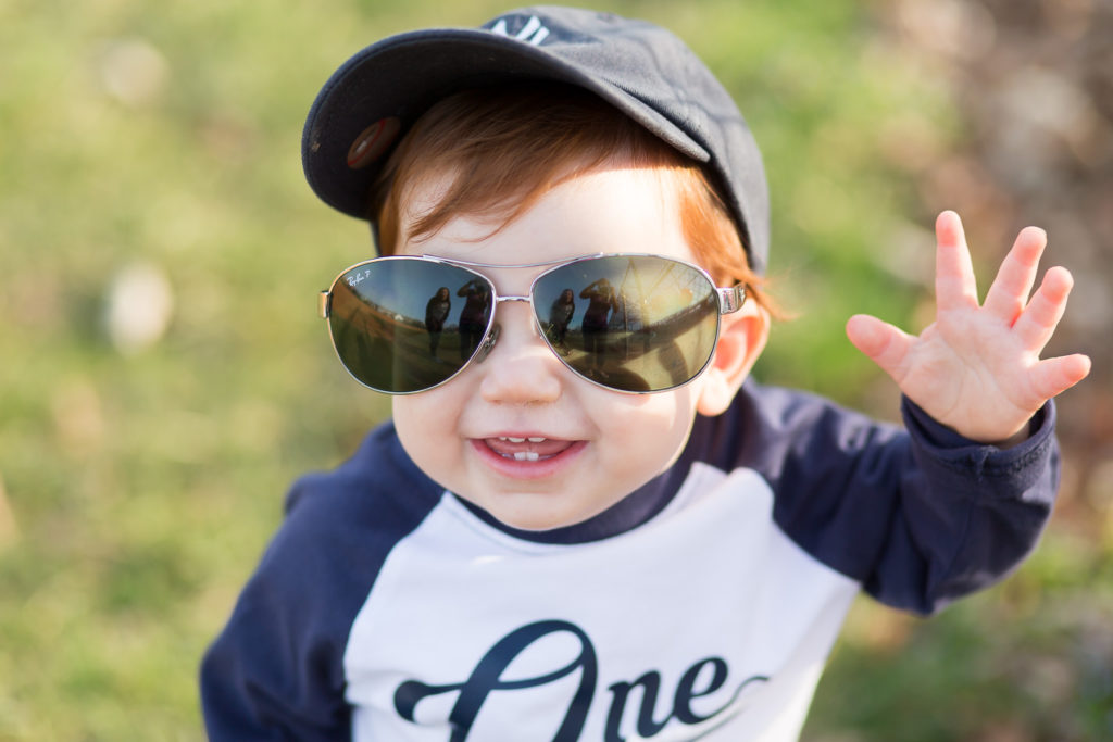one year old in aviators