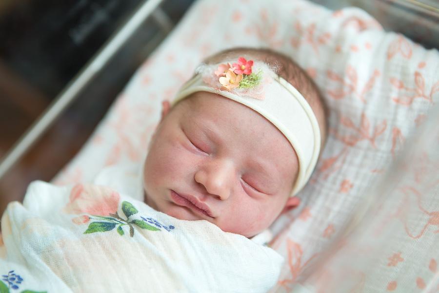 maryland baby sleeping in bassinet at hospital