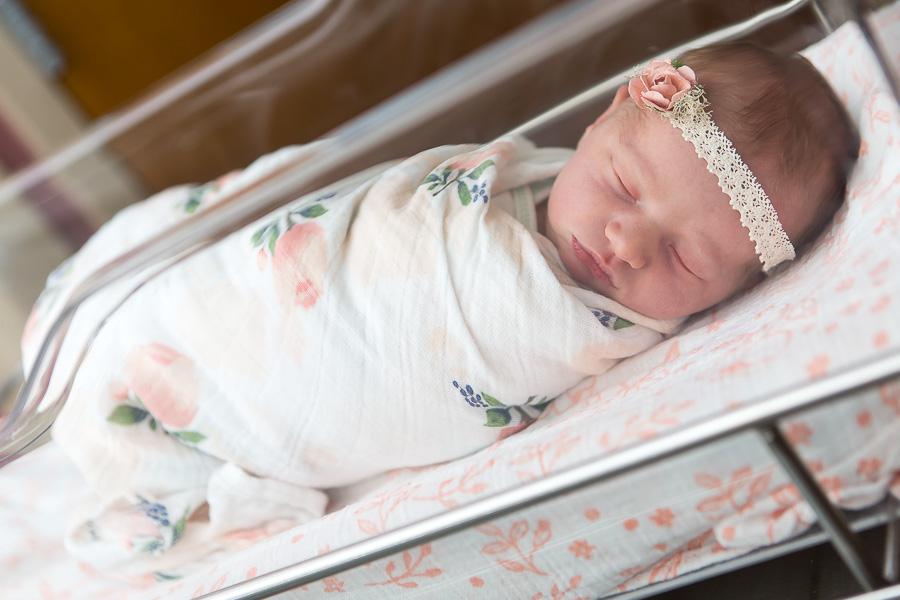 maryland newborn baby sleeping in bassinet at hospital