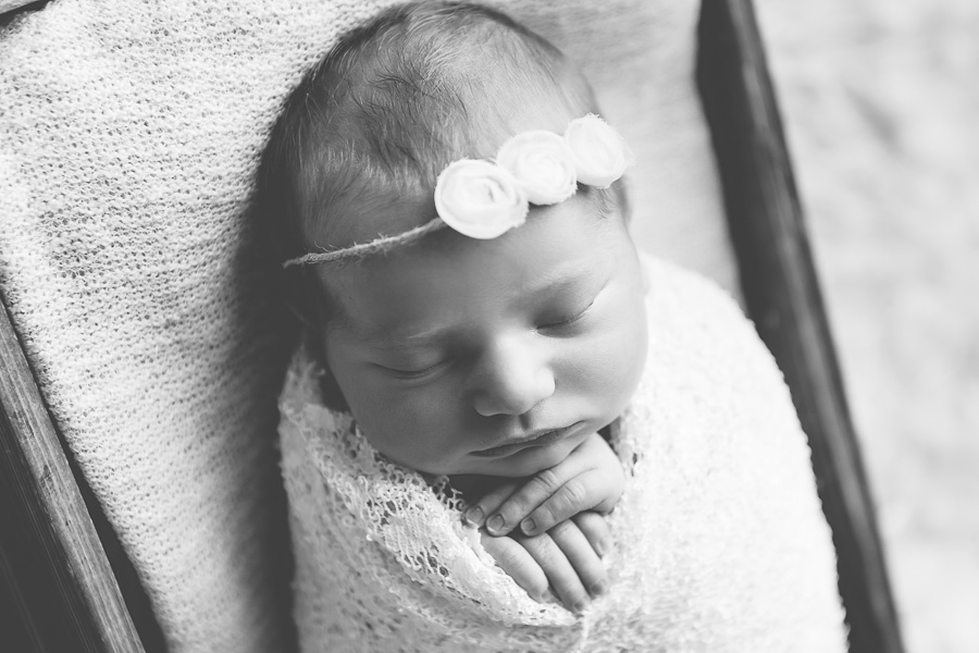 cute baby with white floral headband